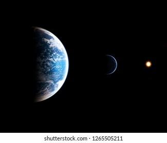Earth sunrise in space. 3d render