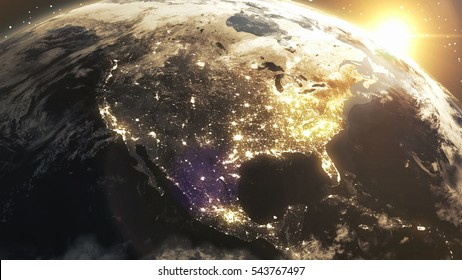 Earth Sunshine North America From Space