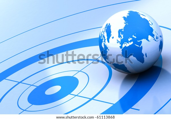 earth and target, blue background
