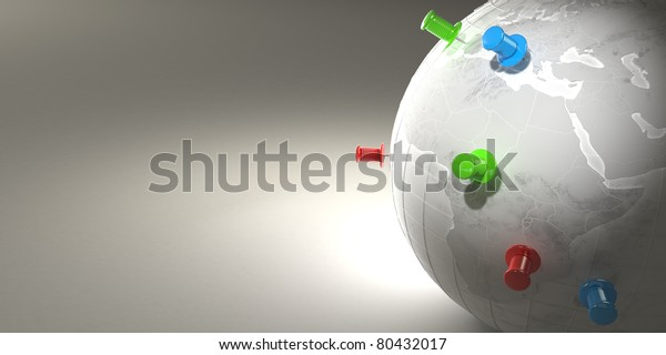 Earth and thumbtacks on grey background. 3d