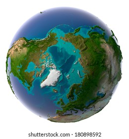 Earth with translucent water in the oceans and the detailed topography of the continents. Arctic