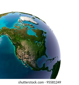 Earth with translucent water in the oceans and the detailed topography of the continents. Detail of the Earth with North America. Isolated on white.