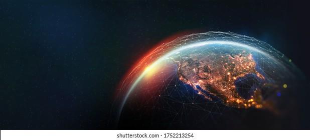 Vue de la Terre depuis l'espace. Réseau mondial. Technologie Blockchain. Planète et communication. Illustration future du monde en 3D. Les éléments de cette image sont fournis par la NASA