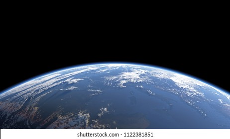 Earth view from space or spacestation in low orbit with clouds and atmosphere, 3D Rendering
