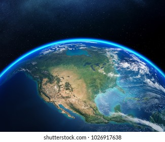 Earth viewed from space with focus on North America. Detailed 3D render against dark starry night sky (Elements of this render furnished by NASA)