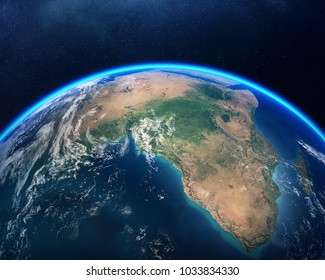Earth viewed from space with focus on Africa. Detailed 3D render against dark starry night sky (Elements of this render furnished by NASA)
