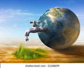 Earth water resources generating new life. Digital illustration.