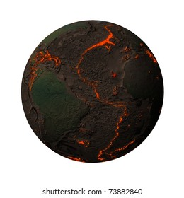 Earth without water and plants, North and South America. Along the tectonic plates cracks with rising magma