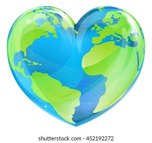 An Earth world globe in a heart shape, could be a concept for world Earth Day