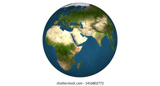Earth world from space white background