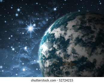 Earth-like Fiction planet in outer space