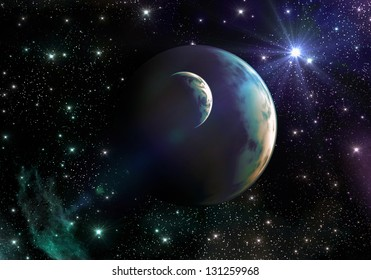Earth-like Planets in Space with Stars and Nebula