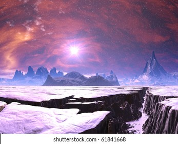 Earthquake Chasm on Alien Ice World