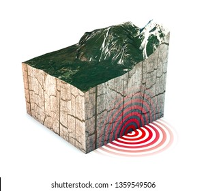 Earthquake ground section, shake, elements of this image are furnished by NASA. Section of land struck by a strong earthquake magnitude. 3d rendering