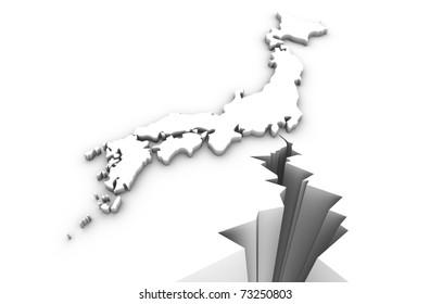 Earthquake with Japan map. Japan earthquake disaster 2011.