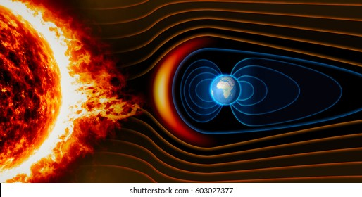 Earth's magnetic field, the Earth, the solar wind, the flow of particles. Sun. Element of this image is furnished by NASA