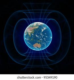 Earth's magnetic field - scientific illustration