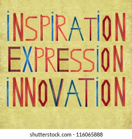 """Earthy background and design element depicting the words """"inspiration, expression, innovation"""""""