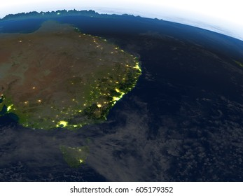 East coast of Australia at night. 3D illustration with detailed planet surface and visible city lights. Elements of this image furnished by NASA.