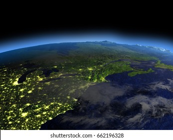East coast of Canada from space  at night with visible illuminated city lights. 3D illustration with detailed planet surface. Elements of this image furnished by NASA.