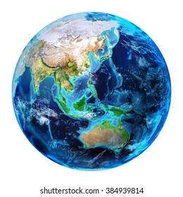 East Earth - 3d Illustration Isolated - Asia elements of this image furnished by NASA