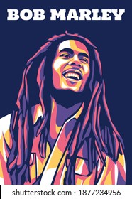 East Java, Indonesia - 17 December 2020 : Bob Marley in pop art style. He is a musician and activist in Jamaica. Also popular with his reggae music