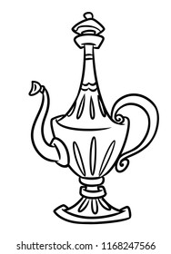 East Jug Wine Beautiful Design Tableware Cartoon Illustration Isolated Image Coloring Page