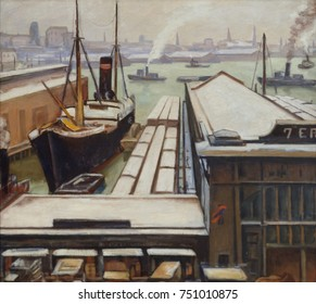 EAST RIVER, by Samuel Halpert, 1913-14, American painting, oil on canvas. This stylized harbor scene is painted with emphatic linear and atmospheric perspective within which shapes are painted with si