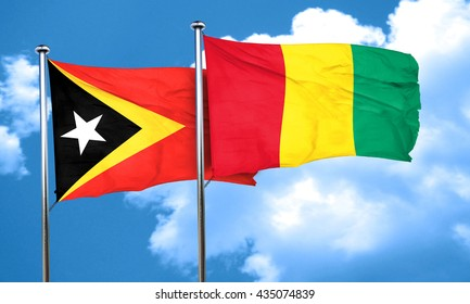 east timor flag with Guinea flag, 3D rendering