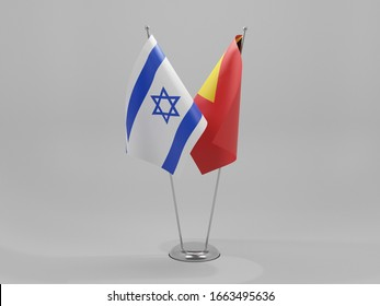 East Timor - Israel Cooperation Flags, White Background - 3D Render