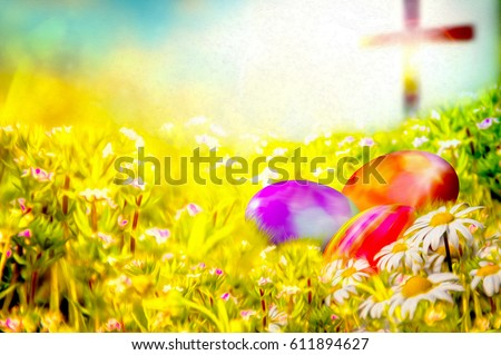 easter background colorful painted easter eggs stock illustration