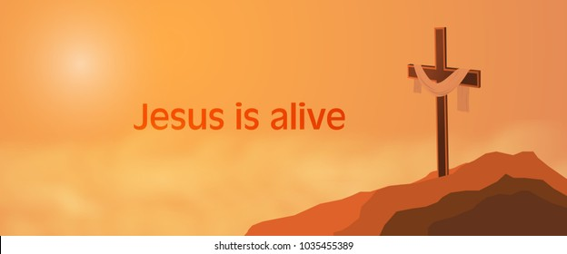 Easter background. Cross on rocks with shroud and text : Jesus is alive.