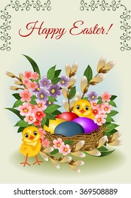 Easter background with eggs, flowers and chickens