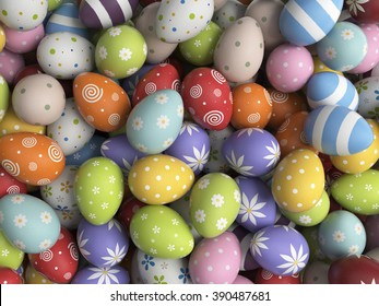 Easter background filled with colorful eggs. 3D illustration