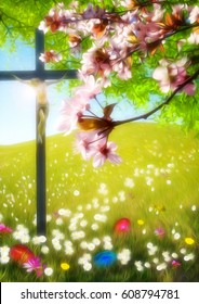 Easter background with flower meadow, blossom tree. painted Easter eggs in the grass and a cross