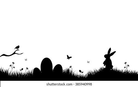 Easter Background with rabbit and easter eggs black.