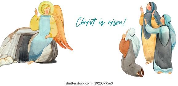 "Easter banner, postcard: angel, praying women, lettering ""He is risen"". For Christian church publications, Easter cards, prints. Biblical illustration"