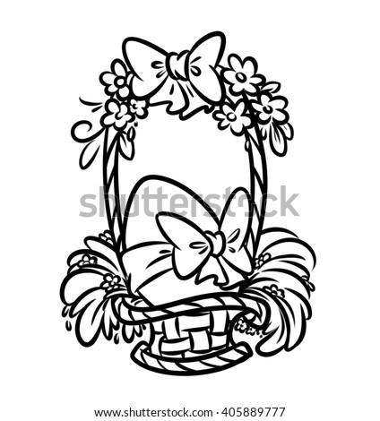 Easter Basket Coloring Page Illustration Stock Illustration