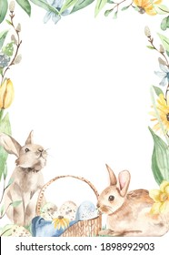 Easter bunnies, basket with Easter eggs, tender spring greenery, leaves, flowers, willows. Watercolor rectangular frame