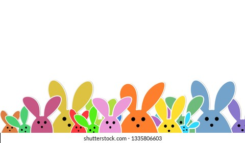 Easter Bunnies as illustration on white Background with. Playful Easter Bunnies Background for the Easter Season.  Easter Text above a Group of colorful cute Rabbits.