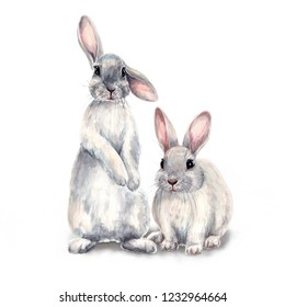 Easter bunnies watercolor illustration