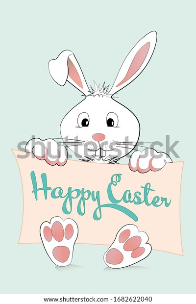 Happy Easter Banner in pastels with cute white Easter Bunny!