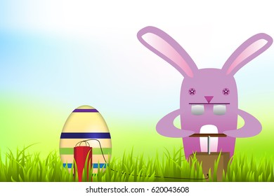 Easter bunny blowing up egg with dynamite/Funny easter bunny background