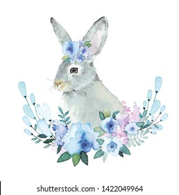 Easter Bunny with in blue blossom. Watercolor illustration