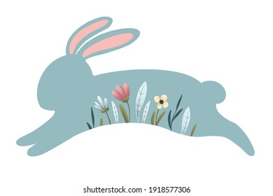 easter bunny. blue silhouette of a rabbit with spring flowers. festive color illustration.