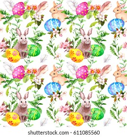 Easter bunny with colored eggs in grass and flowers. Repeating floral easter background. Watercolor