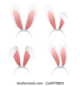Easter bunny ears mask illustration. Ostern rabbit ear spring hat set isolated on white background