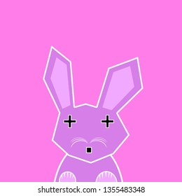 Easter Bunny on Pink Background. Funny Easter Rabbit Illustration. Pink Rabbit on pink Background.