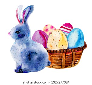 Easter bunny and painted Easter eggs in a wooden basket. Hand drawn watercolor illustration isolated on white background