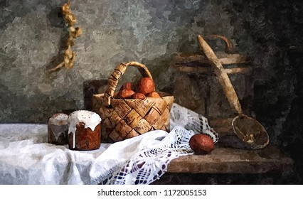Easter cakes and painted eggs on the table. Soon the Orthodox Easter. Rustic still life. Painting wet watercolor on paper. Naive art. Abstract art. Drawing watercolor on paper.